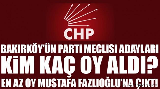 Bakırköy'lü Parti Meclisi adayları kaç oy aldı?
