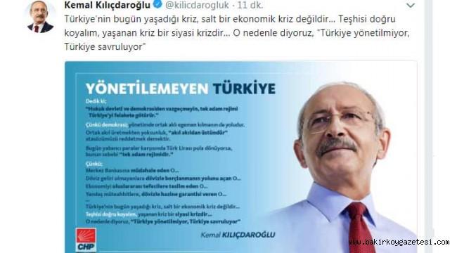 Kılıçdaroğlu: Türkiye'nin bugün yaşadığı kriz, salt bir ekonomik kriz değildir