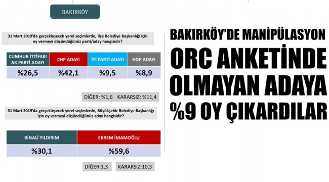 BAKIRKÖY'DE ANKET MANİPÜLASYONU