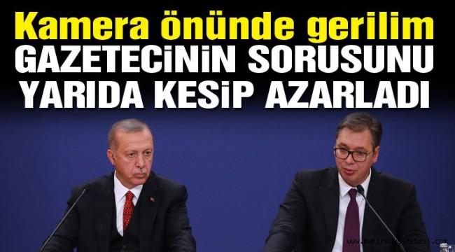 Son dakika… Sırp Cumhurbaşkanı kameralar önünde Erdoğan'ı korudu